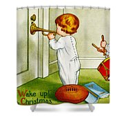 Wake Up Its Christmas Shower Curtain