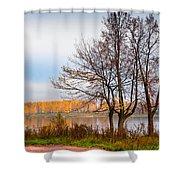 Walk Along The River Bank Shower Curtain