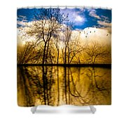 Walk Along The River Shower Curtain