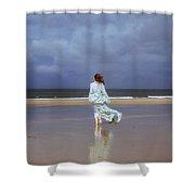 Walk At The Beach Shower Curtain by Joana Kruse