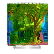 Walk In The City Past Blue Houses Staircases And Shade Trees Montreal Summer Scene Carole Spandau Shower Curtain