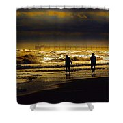 Walk In The Surf Colored Shower Curtain