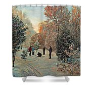 Walk To Skiing In The Winter Park Shower Curtain