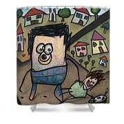 Walkin The Dog Shower Curtain by James W Johnson