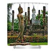 Walking And Sitting Buddha Images At Wat Sa Si In Sukhothai Historical Park-thailand Shower Curtain