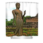 Walking Buddha Image In Wat Sa Si In Sukhothai Historical Park-t Shower Curtain