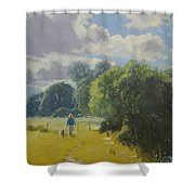 walking down by Borth River Shower Curtain
