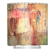 Walking In The Rain Shower Curtain by Keith Thue