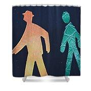 Walking Man Symbol Shower Curtain
