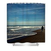 Walking On Seaside Beach Shower Curtain