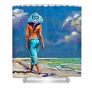 walking on the beach More Color Shower Curtain