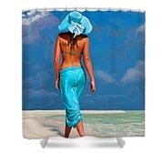 walking on the beach V Shower Curtain