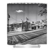 Walking On The Boardwalk In Black And White Walt Disney World Shower Curtain