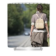Walking On The Road Shower Curtain