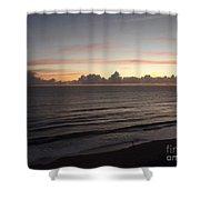 Walking The Beach At Sunrise Shower Curtain