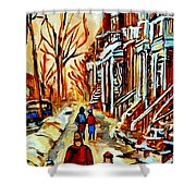 Walking The Dog By Balconville Winter Street Scenes Art Of Montreal City Paintings Carole Spandau Shower Curtain