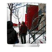 Walking The Dog Through Snowy Streets Of Montreal Urban Winter City Scenes Carole Spandau Shower Curtain