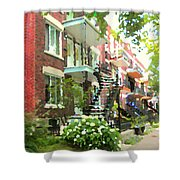 Walking Verdun In Summer Winding Staircases And Pathways Urban Montreal City Scenes Carole Spandau Shower Curtain