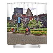 Walkway By Quays Along Saint Lawrence River In Montreal-qc Shower Curtain