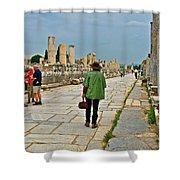 Walkway To Harbor In Ephesus-turkey Shower Curtain