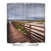 Walkway To The Beach At Romar Access Shower Curtain