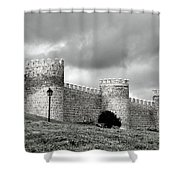 Wall Against Clouds Shower Curtain