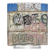 Wall Art Graffiti Concrete Walls Casa Grande Arizona 2004 Shower Curtain