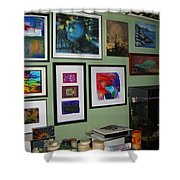 Wall Of Framed Shower Curtain