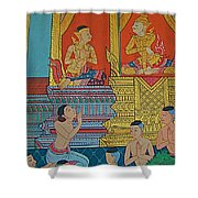 Wall Painting 2 In Wat Po In Bangkok-thailand Shower Curtain