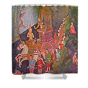 Wall Painting At Wat Suthat In Bangkok-thailand Shower Curtain
