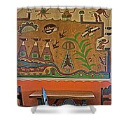 Wall Painting In Painted Desert Inn Cafe In Petrified Forest National Park-arizona  Shower Curtain