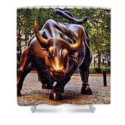 Wall Street Bull Shower Curtain by David Smith