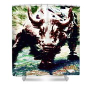 Wall Street Bull - Typography Shower Curtain