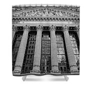 Wall Street New York Stock Exchange Nyse Bw Shower Curtain