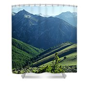 1m5903-wallowa Mountains And Valley Of The East Fork Shower Curtain