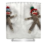 Wally And Petey Snow Angels Shower Curtain
