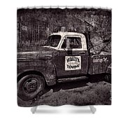 Wally's Towing Bw Shower Curtain
