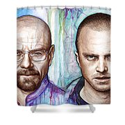 Walter And Jesse - Breaking Bad Shower Curtain by Olga Shvartsur
