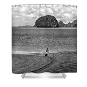 Wandering In Paradise Monochrome Shower Curtain