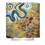 Wandering In Thought2 Original Abstract Colorful Landscape Painting For Sale Yellow Blue Green Shower Curtain