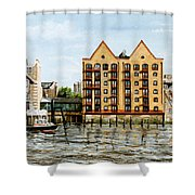 Wapping Thames Police Station And Rebuilt St Johns Wharf London Shower Curtain