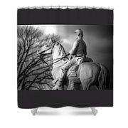 War Horses - 8th Pennsylvania Cavalry Regiment Pleasonton Avenue Sunset Autumn Gettysburg Shower Curtain by Michael Mazaika
