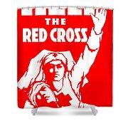 War Poster - Ww1 - Help The Red Cross Shower Curtain