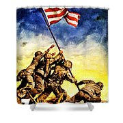 War Poster - Ww2 - Iwo Jima Shower Curtain
