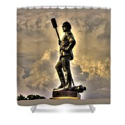War Thunder - The Clouds Of War 1b - 4th New York Independent Battery Above Devils Den Gettysburg Shower Curtain by Michael Mazaika