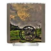 War Thunder - The Clouds Of War 2a - 4th New York Independent Battery Above Devils Den Gettysburg Shower Curtain