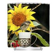 Sunflower And Warbler Bird Shower Curtain