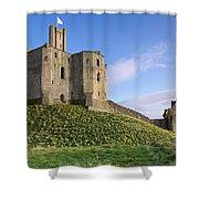 Warkworth Castle In Spring Shower Curtain