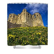 Warkworth Castle In Spring Shower Curtain