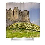 Warkworth Castle With  Daffodils Shower Curtain